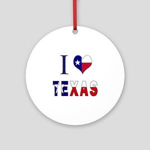 I (Heart) Love Texas Flag Ornament (Round)