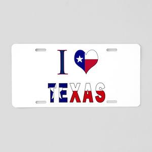 I (Heart) Love Texas Flag Aluminum License Plate