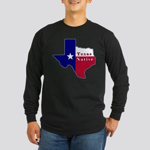 Texas Native Flag Map Long Sleeve Dark T-Shirt