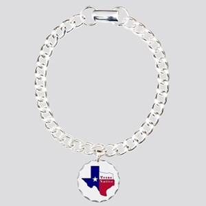 Texas Native Flag Map Charm Bracelet, One Charm