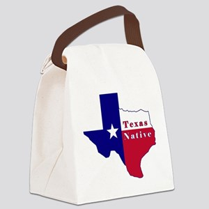 Texas Native Flag Map Canvas Lunch Bag