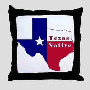 Texas Native Flag Map Throw Pillow