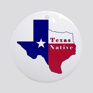 Texas Native Flag Map Ornament (Round)