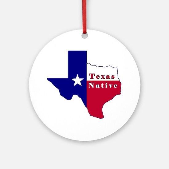 Texas Native Flag Map Ornament (Round)