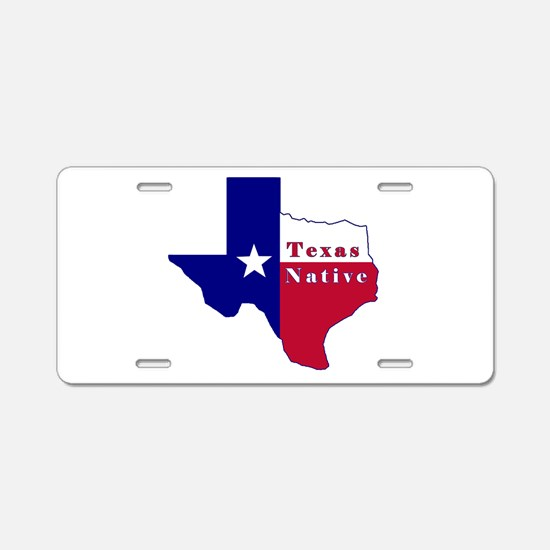 Texas Native Flag Map Aluminum License Plate