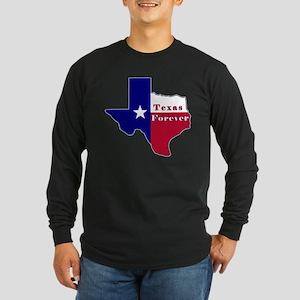 Texas Forever Flag Map Long Sleeve Dark T-Shirt