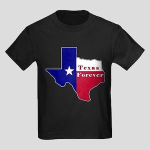 Texas Forever Flag Map Kids Dark T-Shirt