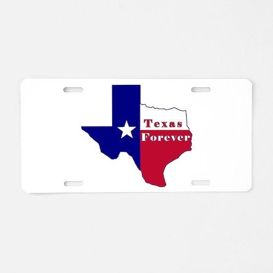 Texas Forever Flag Map Aluminum License Plate