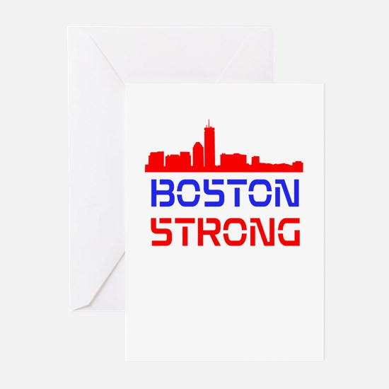 Boston Strong Skyline Red White and Blue Greeting