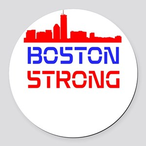 Boston Strong Skyline Red White and Blue Round Car