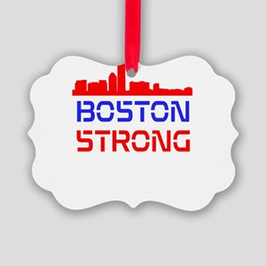 Boston Strong Skyline Red White and Blue Ornament