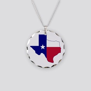 Texas Flag Map Necklace Circle Charm