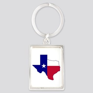 Texas Flag Map Portrait Keychain