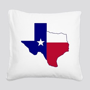 Texas Flag Map Square Canvas Pillow