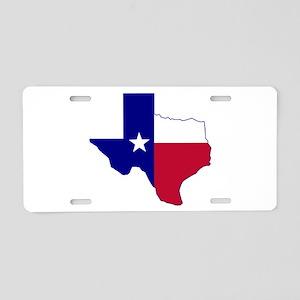 Texas Flag Map Aluminum License Plate