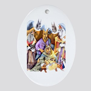 Great Dane Nativity Oval Ornament