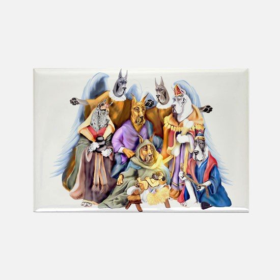 Great Dane Nativity Rectangle Magnet