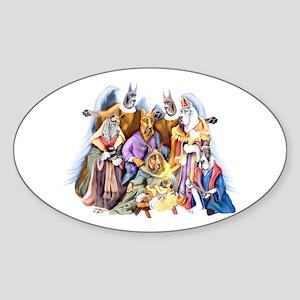 Great Dane Nativity Oval Sticker