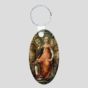 thronedA @oil, tempera, woodA - Aluminum Oval Keyc