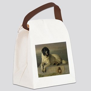Newfoundland-Landseer Resting by the Shore Canvas