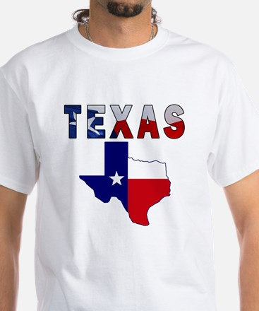Flag Map With Texas White T-Shirt