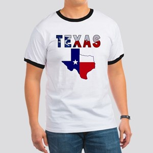 Flag Map With Texas Ringer T