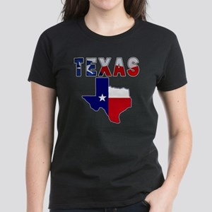 Flag Map With Texas Women's Dark T-Shirt