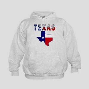 Flag Map With Texas Kids Hoodie