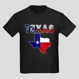 Flag Map With Texas Kids Dark T-Shirt