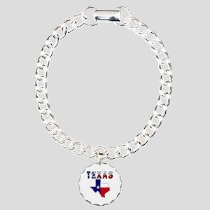 Flag Map With Texas Charm Bracelet, One Charm