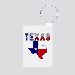Flag Map With Texas Aluminum Photo Keychain