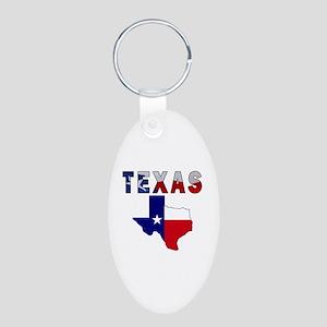 Flag Map With Texas Aluminum Oval Keychain
