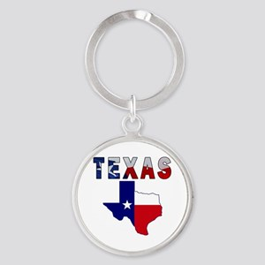 Flag Map With Texas Round Keychain