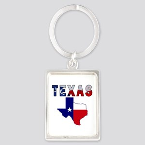 Flag Map With Texas Portrait Keychain