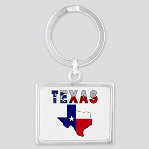 Flag Map With Texas Landscape Keychain