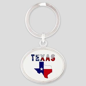 Flag Map With Texas Oval Keychain