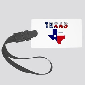Flag Map With Texas Large Luggage Tag