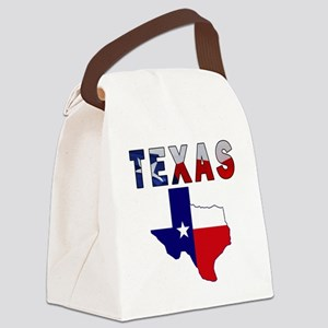 Flag Map With Texas Canvas Lunch Bag