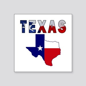 """Flag Map With Texas Square Sticker 3"""" x 3"""""""