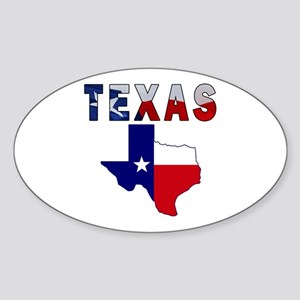 Flag Map With Texas Sticker (Oval)