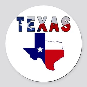 Flag Map With Texas Round Car Magnet