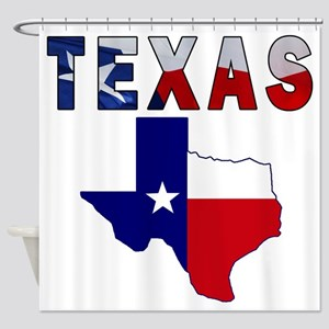 Flag Map With Texas Shower Curtain