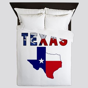 Flag Map With Texas Queen Duvet