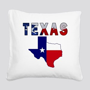 Flag Map With Texas Square Canvas Pillow