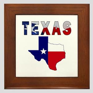 Flag Map With Texas Framed Tile