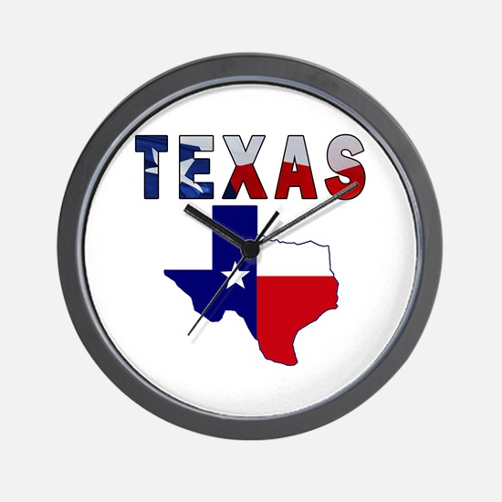 Flag Map With Texas Wall Clock