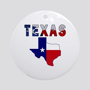 Flag Map With Texas Ornament (Round)