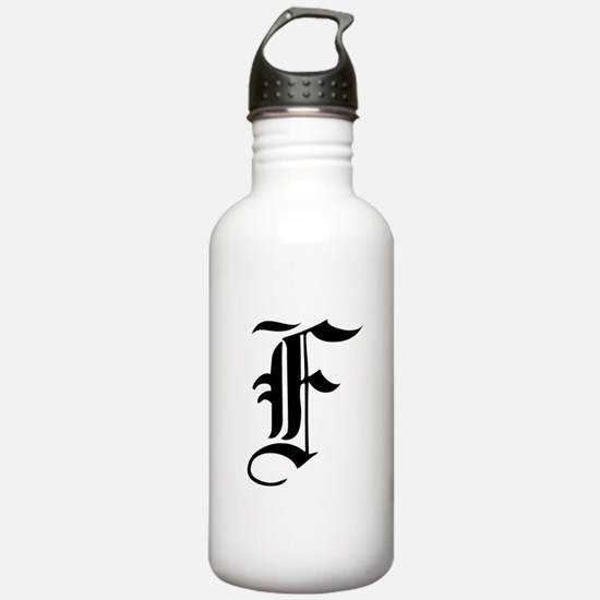 Gothic Initial F Water Bottle