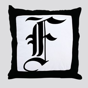 Gothic Initial F Throw Pillow