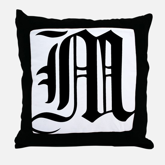 Gothic Initial M Throw Pillow